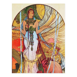 Arte del pavo real de Alfonso Mucha Postal