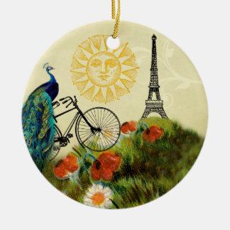 Arte del pavo real del vintage con la torre Eiffel Adorno Navideño Redondo De Cerámica