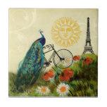 Arte del pavo real del vintage con la torre Eiffel Azulejos Ceramicos
