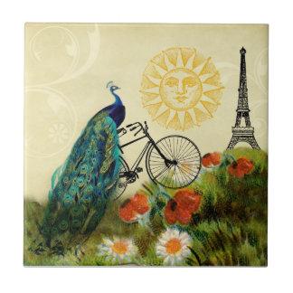 Arte del pavo real del vintage con la torre Eiffel Azulejo Cuadrado Pequeño