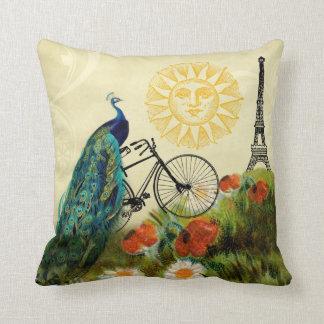 Arte del pavo real del vintage con la torre Eiffel Almohada