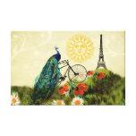 Arte del pavo real del vintage con la torre Eiffel Impresión En Lienzo Estirada