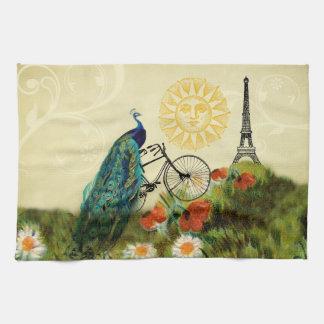 Arte del pavo real del vintage con la torre Eiffel Toallas De Cocina