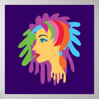 Arte del pelo del arco iris poster