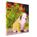 Arte del perrito del dogo impresión en lienzo estirada