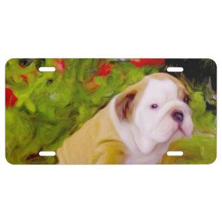 Arte del perrito del dogo placa de matrícula