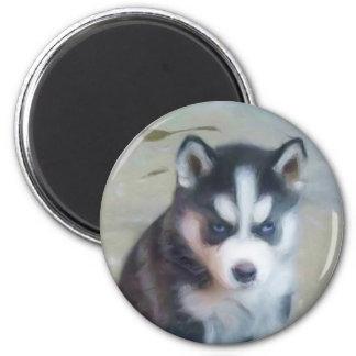 Arte del perrito del husky siberiano imán redondo 5 cm