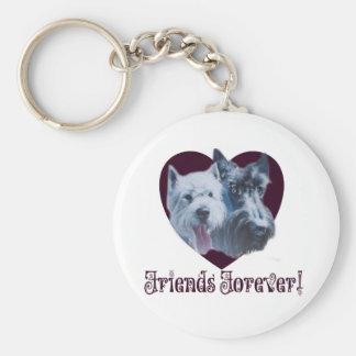 Arte del perro:  ¡Amigos para siempre! Llavero Redondo Tipo Pin