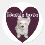 Arte del perro: Amor de Westie Etiquetas Redondas