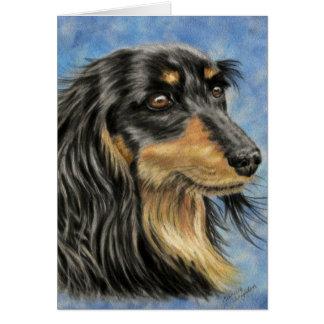 Arte del perro - arte de pelo largo Marco del Dach Felicitacion