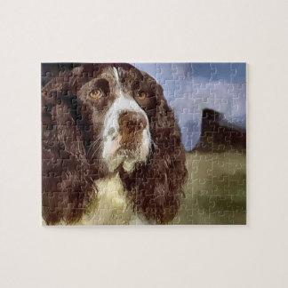 Arte del perro de aguas de saltador inglés rompecabeza con fotos
