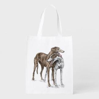 Arte del perro de dos amigos del galgo bolsa para la compra