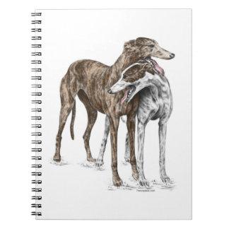 Arte del perro de dos amigos del galgo libretas
