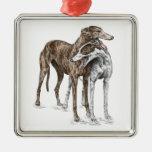 Arte del perro de dos amigos del galgo adornos de navidad