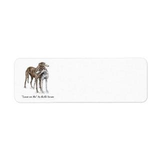 Arte del perro de dos amigos del galgo etiquetas de remite