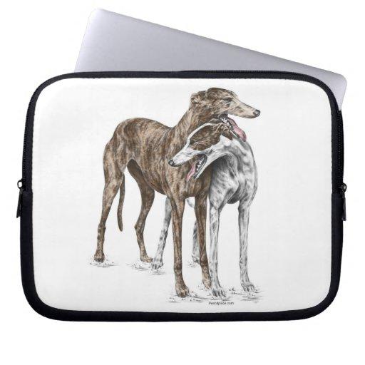 Arte del perro de dos amigos del galgo funda portátil
