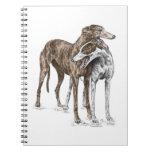 Arte del perro de dos amigos del galgo libretas espirales