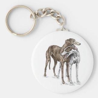 Arte del perro de dos amigos del galgo llavero redondo tipo pin