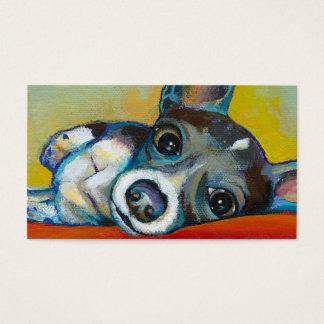 Arte del perro de la chihuahua - pintura adorable tarjetas de visita