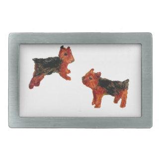 Arte del perro de la diversión de Terrier Hebilla Cinturon Rectangular