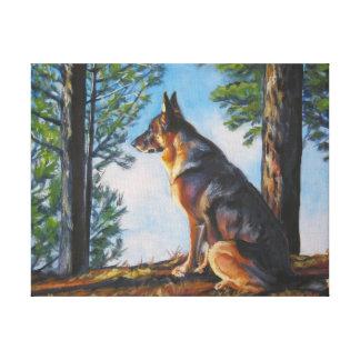 Arte del perro de pastor alemán en lona envuelta impresión en lona estirada