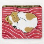 Arte del perro de perrito el dormir Jack Russell Tapete De Ratones