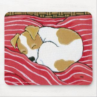 Arte del perro de perrito el dormir Jack Russell Alfombrillas De Raton