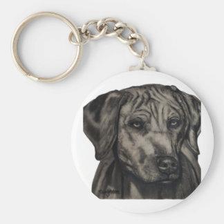 Arte del perro de Rhodesian Ridgeback - Zulú Llavero Redondo Tipo Pin