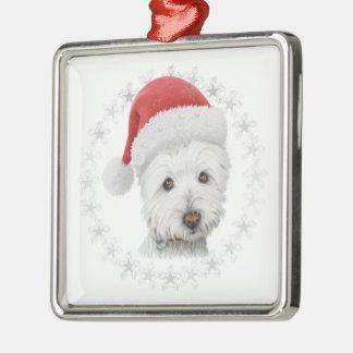 Arte del perro de Westie del navidad Adorno Navideño Cuadrado De Metal