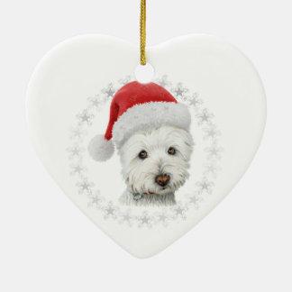 Arte del perro de Westie del navidad Adorno Navideño De Cerámica En Forma De Corazón