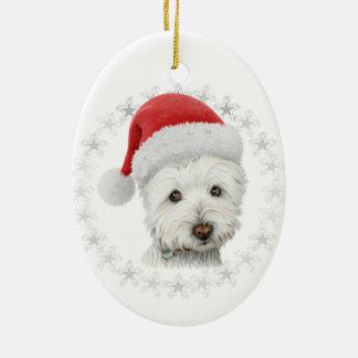 Arte del perro de Westie del navidad Adorno Navideño Ovalado De Cerámica