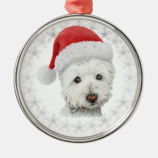 Arte del perro de Westie del navidad Adorno Navideño Redondo De Metal