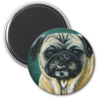 Arte del perro del barro amasado - mi cara feliz imán redondo 5 cm