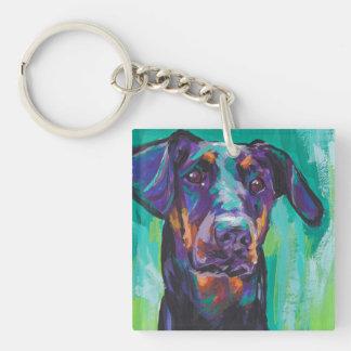 Arte del perro del estallido del Pinscher del Llavero Cuadrado Acrílico A Doble Cara