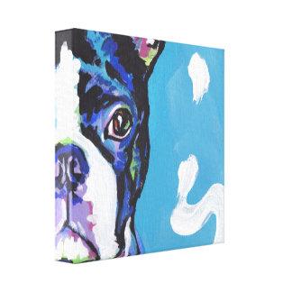 arte del perro del estallido del terrier de Boston Impresión En Lona Estirada