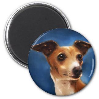Arte del perro del galgo italiano - Magnifico Imán Redondo 5 Cm