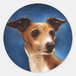 Arte del perro del galgo italiano - Magnifico Etiqueta Redonda