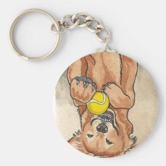 Arte del perro del golden retriever de la diversió llavero redondo tipo pin