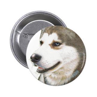 Arte del perro del husky siberiano pin redondo 5 cm