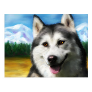 Arte del perro del husky siberiano - solar postal