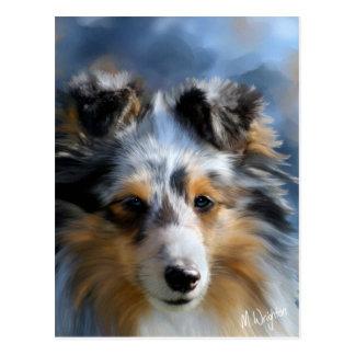 Arte del perro pastor de Shetland Tarjeta Postal