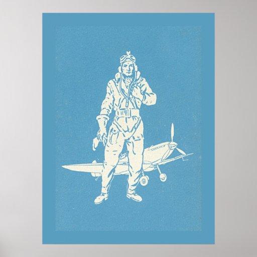 Arte del piloto y del aeroplano del vintage póster