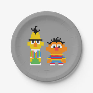 Arte del pixel de Bert y de Ernie Plato De Papel De 7 Pulgadas