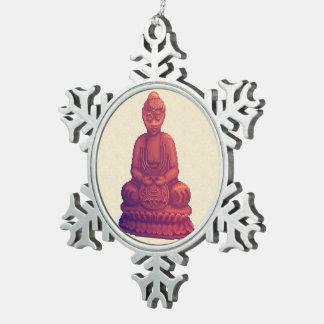 Arte del pixel de Buda de la puesta del sol Adorno De Peltre En Forma De Copo De Nieve