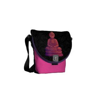 Arte del pixel de Buda de la puesta del sol Bolsas De Mensajería