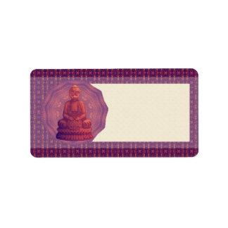 Arte del pixel de Buda de la puesta del sol Etiqueta De Dirección