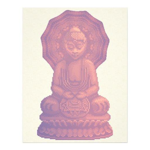 """Arte del pixel de Buda de la puesta del sol Folleto 8.5"""" X 11"""""""
