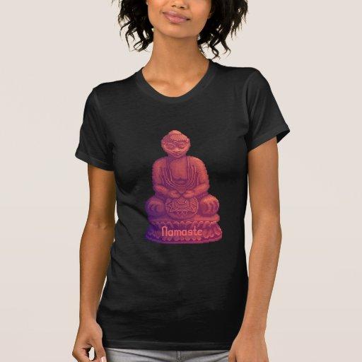 Arte del pixel de Buda de la puesta del sol Camisetas