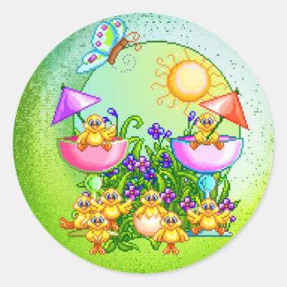 Arte del pixel de la cosa del polluelo pegatinas redondas