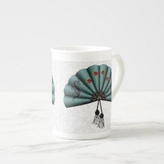 Arte del pixel de la fan del dragón verde del taza de porcelana